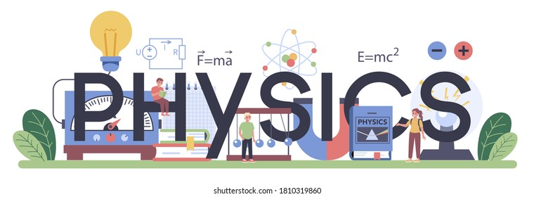 Physics school subject typographic header. Scientist explore electricity, magnetism, light wave and forces. Theoretical and practical study. Physics lesson and experiment. Isolated vector illustration