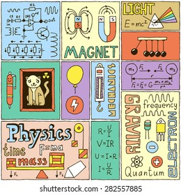 Physics Science Banners set. Color Hand Drawn Vector Illustrations.