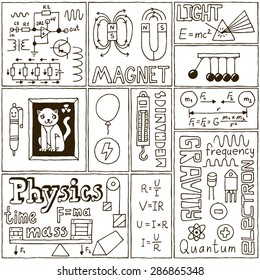 Physics Science Banners set. Hand Drawn Vector Illustrations.