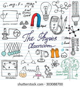 Physics and science elements doodles icons set. Hand drawn sketch with microscope, formulas, experiments equipment, analysis tools, magnet, pendulum, electricity, vector illustration, paper background