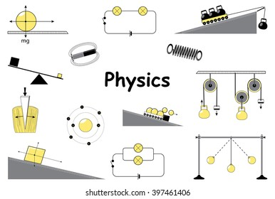 Physics and science icons set. Classical mechanics.