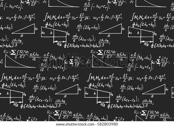 Physics seamless pattern with the equations, figures, schemes, plots and other calculations on blackboard. Handwritten vector Illustration.