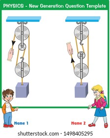 Physics, Simple Machines, Question and Answer Template, vector, New generation Question, boy and girl student