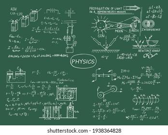 Physics theme.  Retro education and scientific background. Scientific knowledge, formulas. Vector hand-drawn illustration on blackboard.