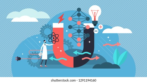 Physics vector illustration. Flat tiny scientific research persons concept. Symbols of electricity, magnetism, light wave and forces. Knowledge about universe behavior. Theoretical and practical study