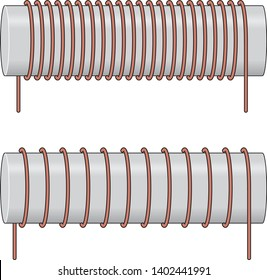 Physics Winding Coil, circuit vector