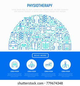 Physiotherapy concept in half circle with thin line icons: rehabilitation, acupuncture, massage, gymnastics, go-carts, vertebrae; x-ray, crutches, wheelchair. Vector illustration, web page template.