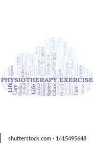 Physiotherapy Exercise word cloud. Wordcloud made with text only.