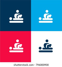 Physiotherapy four color material and minimal icon logo set in red and blue