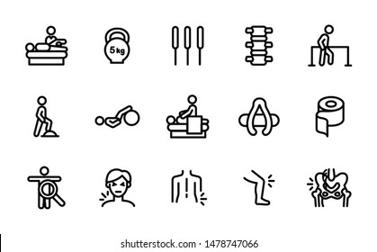 Physiotherapy icon set for clinic, hospital, health organisation info graphic, poster, brochure - muscle, nerve pain or ache, trauma symptoms, examination, treatment, rehabilitation