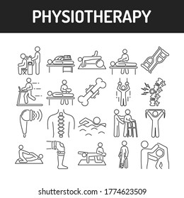 Physiotherapy line black icons set. Rehabilitation, therapy concept. Injury treatment. Isolated vector element. Outline pictograms for web page, mobile app, promo.
