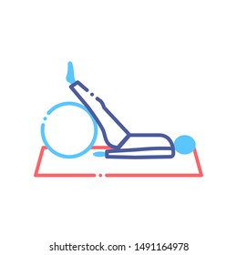 Physiotherapy line color icon. Rehabilitation, therapy concept. Injury treatment. Sign for web page, mobile app, button, logo. Vector isolated button. Editable stroke.
