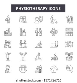 Physiotherapy line icons, signs set, vector. Physiotherapy outline concept, illustration: medical,physiotherapy,health,care,patient,rehabilitation,therapy,massage,treatment