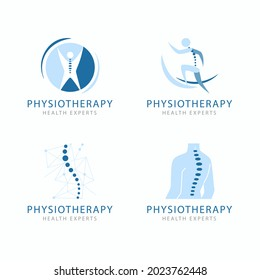 Physiotherapy logo. Health, anatomy, athletic logotype. Medical physical rehabilitation therapy, orthopedic, osteopathy, chiropractic icon. Physiotherapist, nutritionist logotype. Vector art.