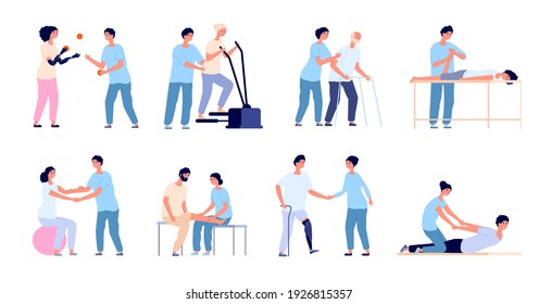 Physiotherapy. Medical treatment, injuries rehabilitation therapy. Healthcare physical training, medicine physiotherapist with patient utter vector set
