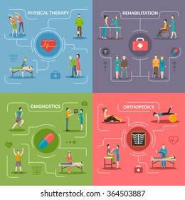 Physiotherapy rehabilitation 2x2 flat design concept set of orthopedic exercises medical diagnostics geriatric and palliative care icons vector illustration