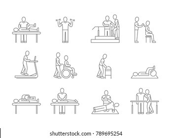 Physiotherapy and rehabilitation, exercises and massage therapy vector line medical icons. Medical patient, physical therapy exercise illustration