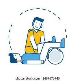 Physiotherapy and rehabilitation treatment isolated icon, patient and physiotherapist vector. Exercising and legs training, medicine and healthcare. Injury or trauma, medical equipment or trainer
