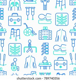 Physiotherapy seamless pattern with thin line icons: rehabilitation, physiotherapist, acupuncture, massage, go-carts, vertebrae; x-ray, trauma, crutches, wheelchair. Vector illustration.