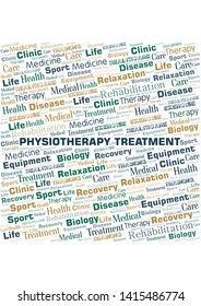 Physiotherapy Treatment word cloud. Wordcloud made with text only.
