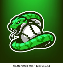 Phyton Snakes for esport and sport mascot logo isolated on dark Green Background