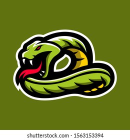 Phyton Snakes  Viper for esport and sport mascot logo isolated badge emblem gaming player or team