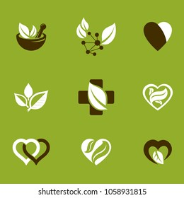 Phytotherapy metaphor, vector graphic emblems collection. Vegetarian lifestyle conceptual illustrations.