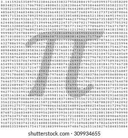 Pi - 3.1415 - Mathematical Column of Figures Vector Background - Backdrop with Greek Pi Letter Shape - Vector Illustration