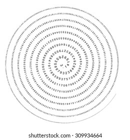 Pi - 3.1415 - Mathematical Helix - Column of Numbers Spiral - Vector Illustration