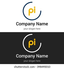 PI business logo icon design template elements. Vector color sign.