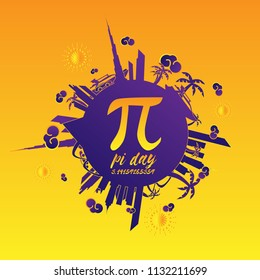 pi day, beautiful greeting card and hand drawn text background or banner with city and travel theme. vector