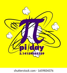 pi day, beautiful greeting card background or template banner with explode theme. vector design illustration, it can use for label, logo, sign, sticker or printing for t-shirt.