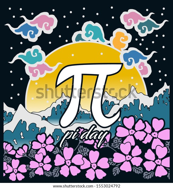 pi day, beautiful greeting card background or banner with sea and flower theme. design illustration