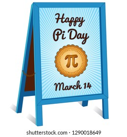 Pi Day, March 14, to celebrate the mathematical constant pi and to eat lots of fresh baked sweet pie, international holiday, blue rays, sandwich board sidewalk folding easel sign with brass chain.