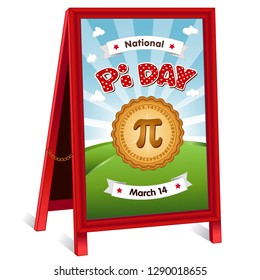 Pi Day, March 14 holiday, celebrates mathematical constant pi, eat sweet pie, red polka dot text, blue sky clouds background, sidewalk sandwich board sign, folding easel billboard, brass chain.
