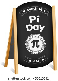 Pi Day, March 14, international holiday to celebrate the mathematical constant Pi, 3.14,  and eat lots of pie, sidewalk chalk board sign, folding easel, brass chain. EPS8 compatible.