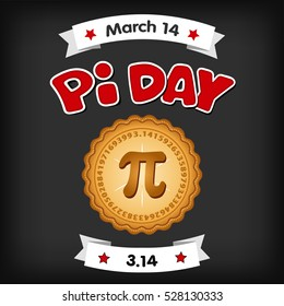 Pi Day, March 14, international holiday to celebrate the mathematical constant Pi, 3.14, and  eat lots of fresh baked sweet pie, red text, chalk board background. EPS8 compatible.