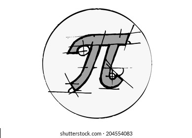 Pi draw in circle. Vector illustration.