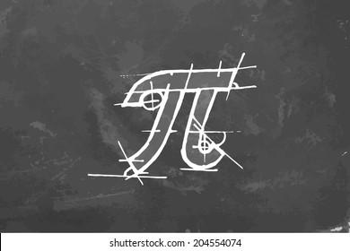 Pi draw on chalkboard. Vector illustration.
