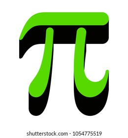 Pi greek letter sign. Vector. Green 3d icon with black side on white background. Isolated.