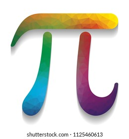 Pi greek letter sign. Vector. Colorful icon with bright texture of mosaic with soft shadow on white background. Isolated.