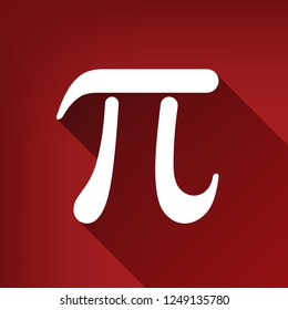 Pi greek letter sign. Vector. White icon with limitless shadow at ruby red background.