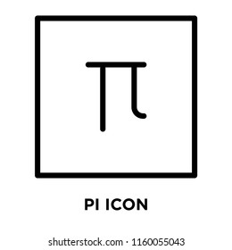 Pi icon vector isolated on white background, Pi transparent sign , line and outline elements in linear style