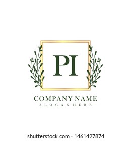 PI Initial beauty floral logo template
