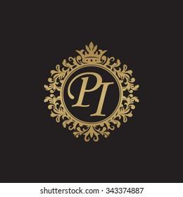 PI initial luxury ornament monogram logo