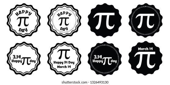 Pi label set Happy PI day numbers series 3.14 3,14 3/14 Pythagoras pie mathematics maths math fun funny pi symbol icon Celebrate  Mathematical constant March Ratio circle circumference Irrational day