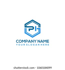 PI logo letter initial, Abstract polygonal Background Logo,