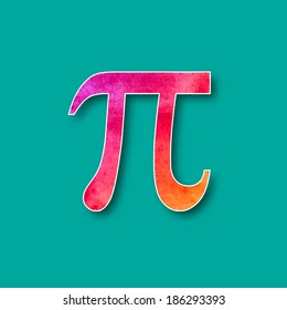 Pi mathematical symbol in watercolor style. Vector design.