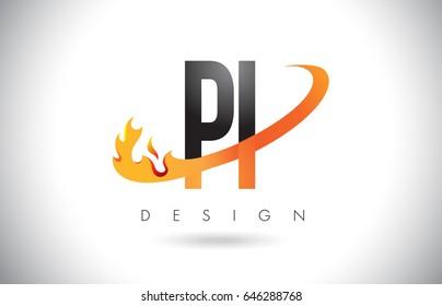 PI P I Letter Logo Design with Fire Flames and Orange Swoosh Vector Illustration.