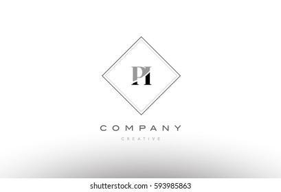 pi p i  retro vintage black white alphabet company letter logo line design vector icon template